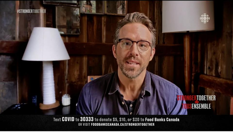 "Ryan Reynolds talks about Canada during the ""Stronger Together"" fundraiser, Apr. 26, 2020. (Photo: Screenshot / Stronger Together via CBC)"