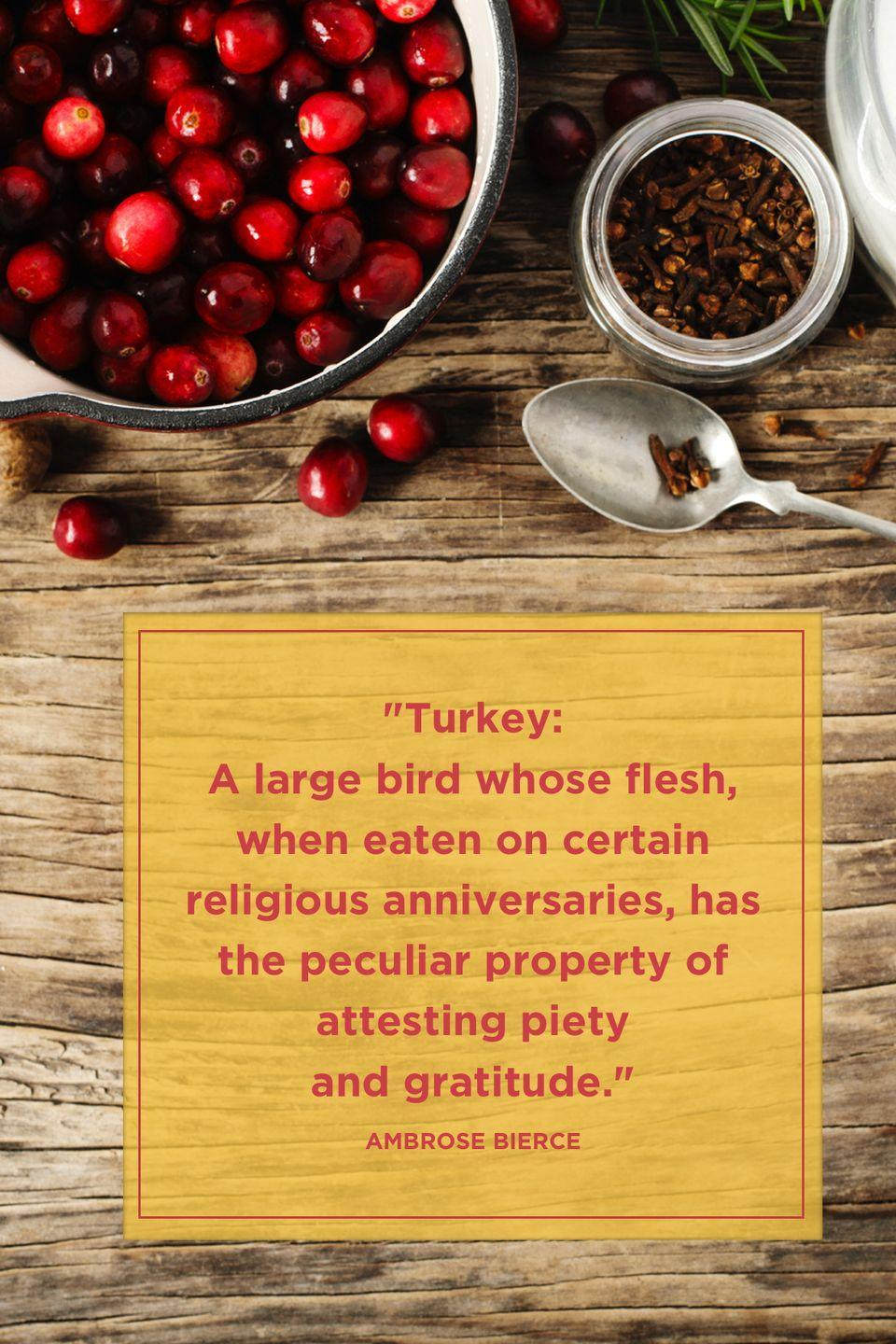 "<p>""Turkey: A large bird whose flesh, when eaten on certain religious anniversaries, has the peculiar property of attesting piety and gratitude."" </p>"