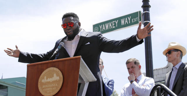 David Ortiz, seen in June, when a portion of Yawkey Way outside of Fenway Park was named in his honor. (AP)