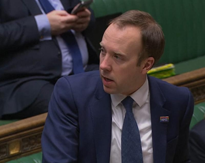 Screen grab of Health Secretary Matt Hancock introducing the Coronavirus Bill in the House of Commons for its second reading .