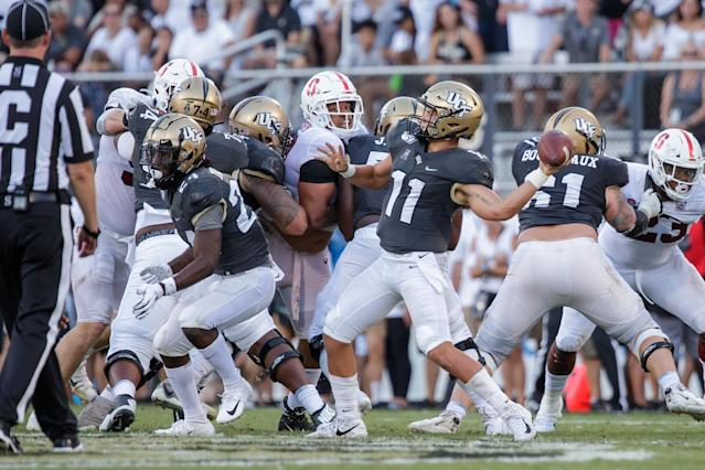 UCF's Dillon Gabriel attempts a pass during a game between Stanford Cardinal on Sept. 14. (Getty)