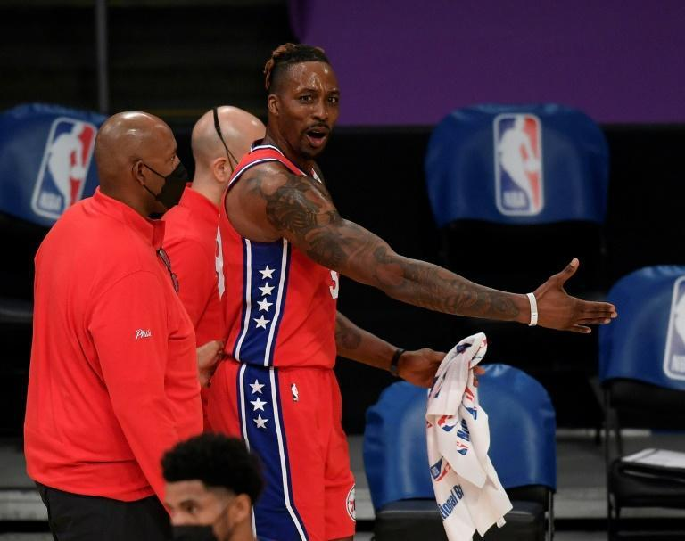 Philadelphia's Dwight Howard reacts after he is ejected from the 76ers' 109-101 NBA victory over the Los Angeles Lakers