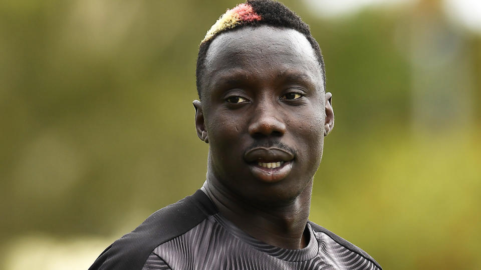 AFL player Mabior Chol was sent a racist message on social media in the days after switching clubs from Richmond to the Gold Coast Suns. (Photo by Albert Perez/Getty Images)