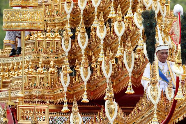 <p>A detail of the Great Victory Chariot carrying the royal urn is seen during the funeral procession for Thailand's late King Bhumibol Adulyadej in Bangkok, Thailand, Oct. 26, 2017. (Photo: Jorge Silva/Reuters) </p>