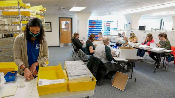 PHOTO: Monroe County municipal workers count ballots as vote counting in the general election continues, Nov. 5, 2020, in Stroudsburg, Pa. (Mary Altaffer/AP)