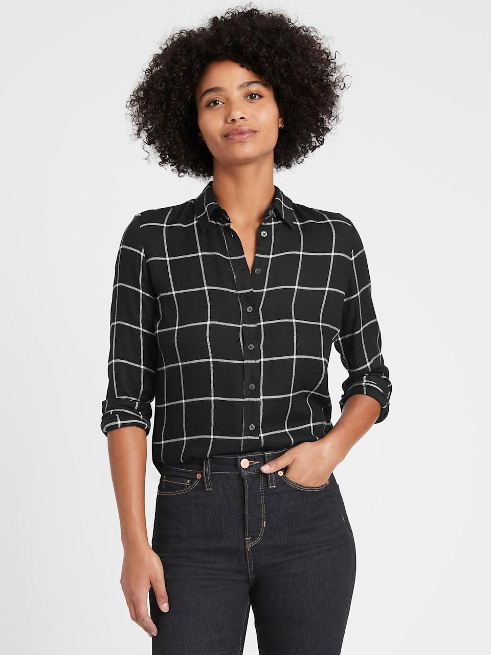 <p>This <span>Banana Republic Dillon Classic-Fit Flannel Shirt</span> ($29, originally $80) is so cozy perfect for those winter snow days.</p>
