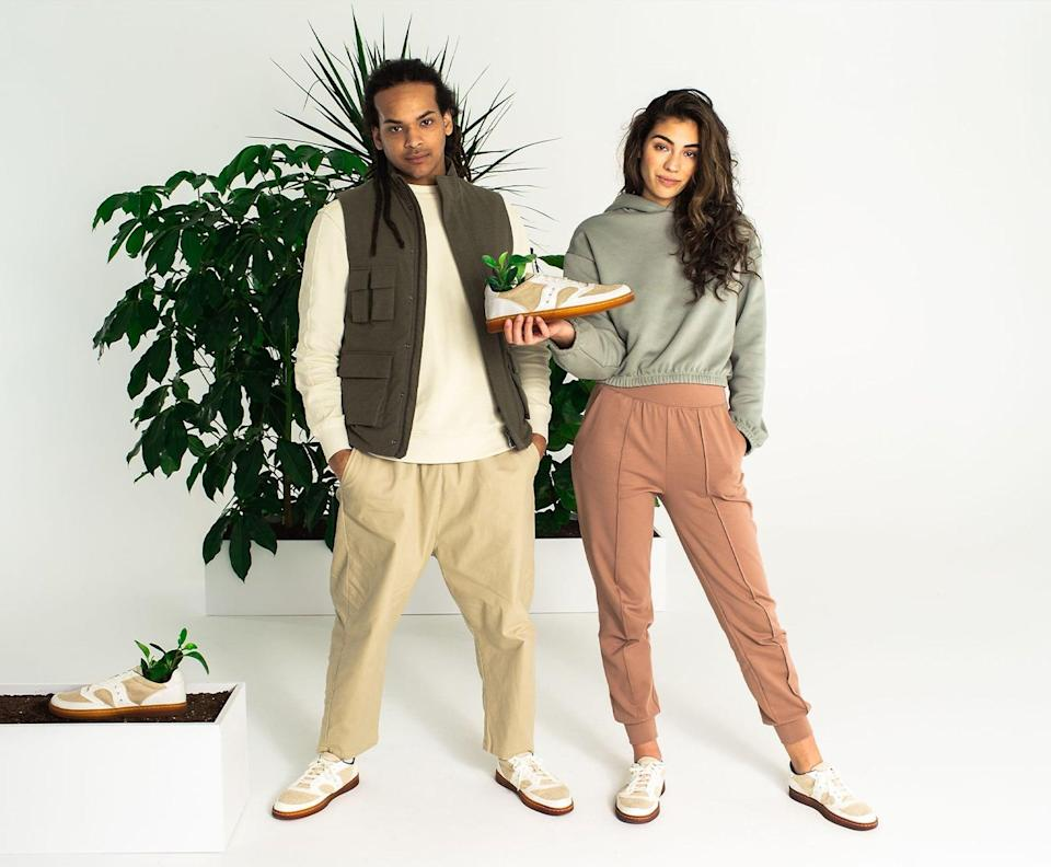 """<p>""""Believe it or not, Saucony, a brand I'm always scoping out for running gear, just launched its first 100-percent-natural sneaker made from cotton, jute wool, rubber, gardenia, and beets! It's a gender-neutral shoe, called the <span>Jazz Court RFG</span> ($130), and will go with everything in my closet."""" - SW</p>"""