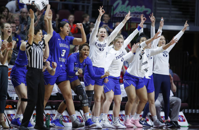 BYU players celebrate during the second half of an NCAA women's final college basketball game against Gonzaga at the West Coast Conference tournament, Tuesday, March 12, 2019, in Las Vegas. (AP Photo/John Locher)