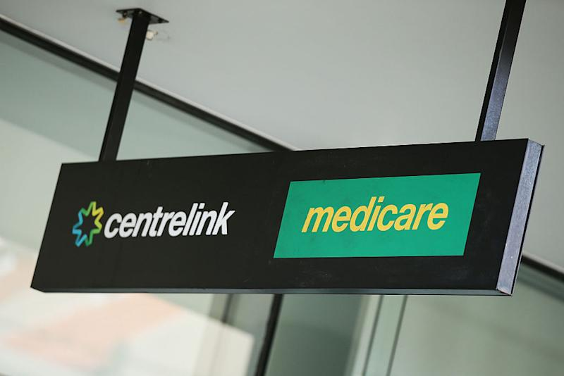 A Medicare and Centrelink office sign is seen at Bondi Junction on March 21, 2016 in Sydney, Australia. Federal public sector workers are expected to strike around Australia over a long-running pay dispute.