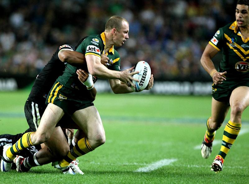 File picture for illustration shows a player passing the ball during a rugby league match in Sydney on October 26, 2008