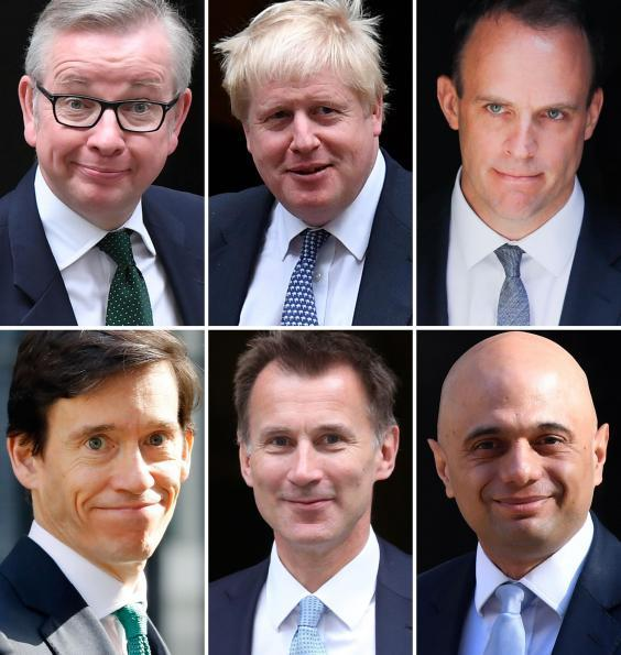 Remaining six candidates in the Conservative leadership contest (Michael Gove, Boris Johnson, Dominic Raab, Rory Stewart, Jeremy Hunt, Sajid Javid) (AFP)