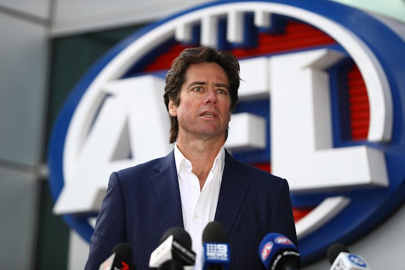 AFL CEO Gillon McLachlan speaks to the media during a press conference at AFL House on July 15, 2020 in Melbourne, Australia. (Photo by Robert Cianflone/Getty Images)