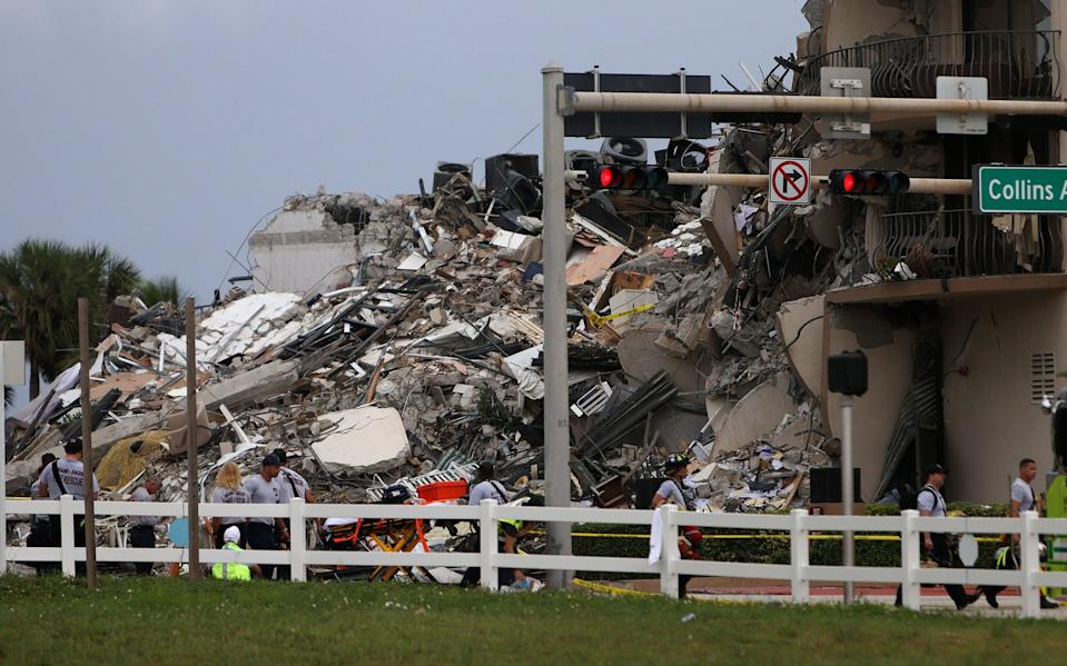 Rubble seen from the ground level (Getty Images)