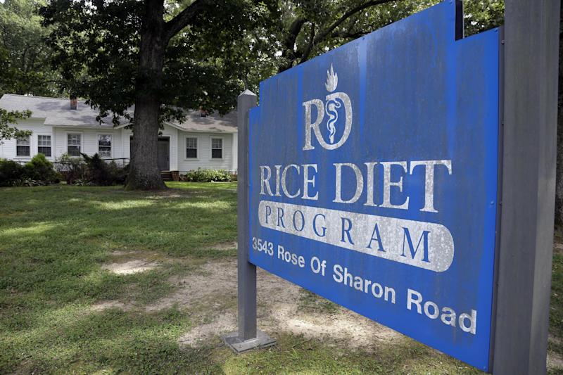 This Tuesday, Aug. 27, 2013 photo shows the now-closed Rice Diet facility in Durham, N.C. The company that took the Rice Diet banner after Duke University's hospital spun it off a decade ago has closed after more than 70 years of attracting celebrities and others suffering chronic illness and obesity to Durham. (AP Photo/Gerry Broome)
