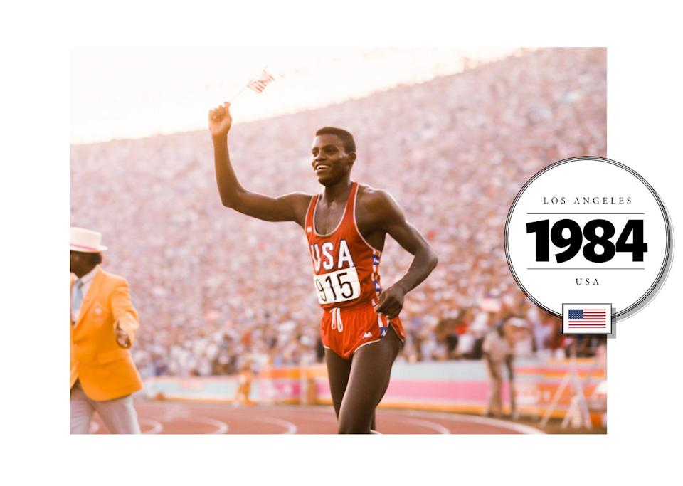 Like at the 1976 Olympics, runner Carl Lewis wore a team USA tank top in red with white piping. His shorts (considerably shorter than seen before), matched his ensemble. (Getty Images)