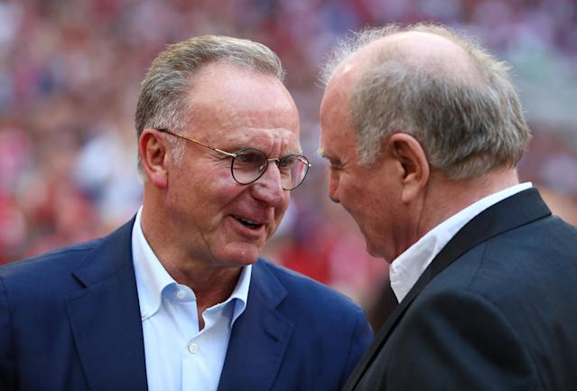 Soccer Football - Bundesliga - Bayern Munich v VfB Stuttgart - Allianz Arena, Munich, Germany - May 12, 2018 Bayern Munich President Uli Hoeness and CEO Karl-Heinz Rummenigge before the match REUTERS/Michael Dalder DFL RULES TO LIMIT THE ONLINE USAGE DURING MATCH TIME TO 15 PICTURES PER GAME. IMAGE SEQUENCES TO SIMULATE VIDEO IS NOT ALLOWED AT ANY TIME. FOR FURTHER QUERIES PLEASE CONTACT DFL DIRECTLY AT + 49 69 650050