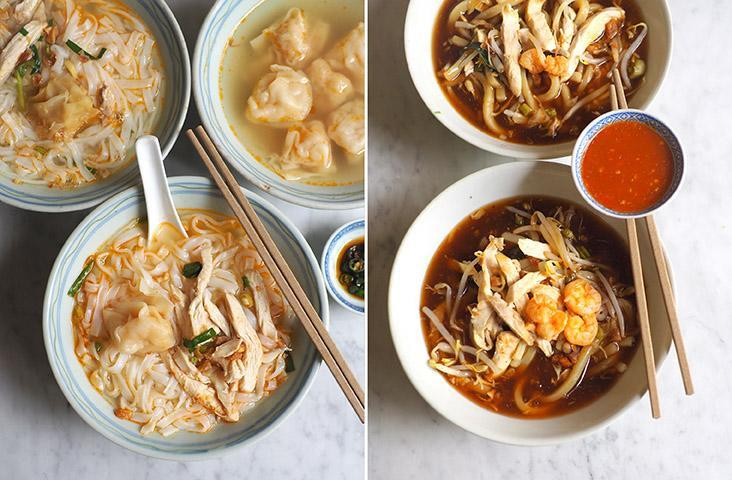 Their chicken shredded noodles has a very light taste and is topped with poached chicken and prawn 'wantans' (left). The 'lam mee' is served with a thick, gloopy broth that can be enhanced with a spicy chilli sauce (right)