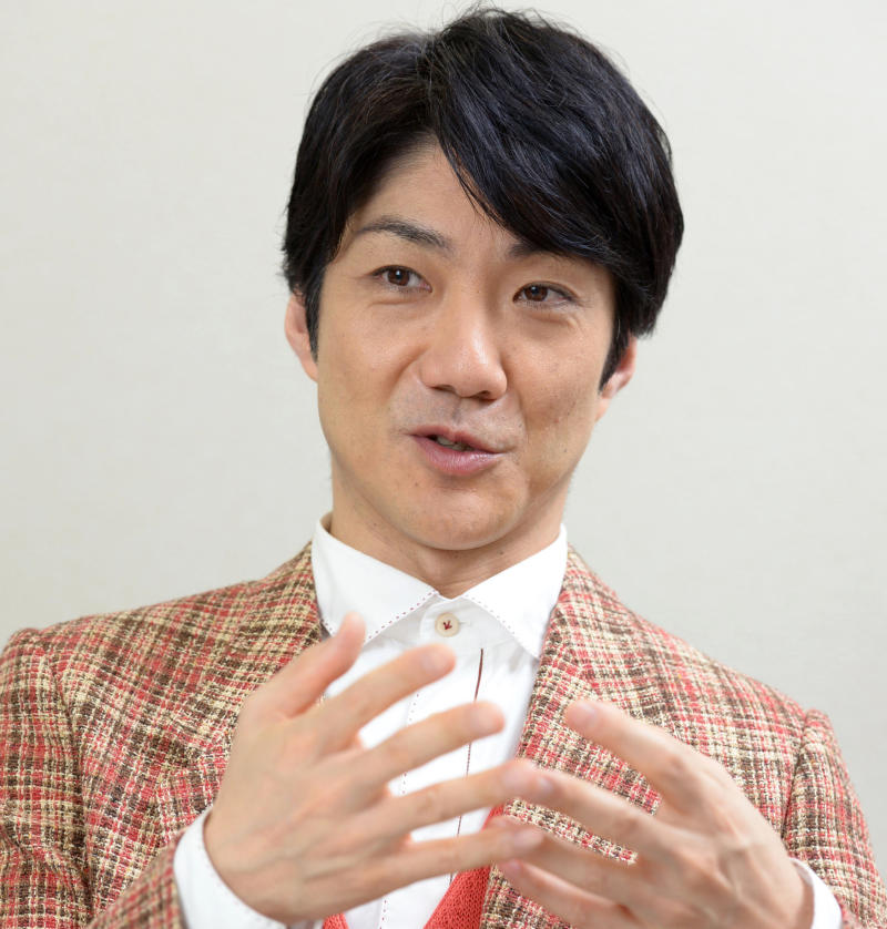 In this April 18, 2017, photo, actor Mansai Nomura speaks during an interview in Tokyo. The renowned actor in traditional Japanese theater has been named creative director for the opening and closing ceremonies of the 2020 Tokyo Olympics and Paralympics.  The organizing committee announced Monday, July 30, 2018,  that Nomura will oversee all four ceremonies as chief executive creative director. (Yuka Ando/Kyodo News via AP)
