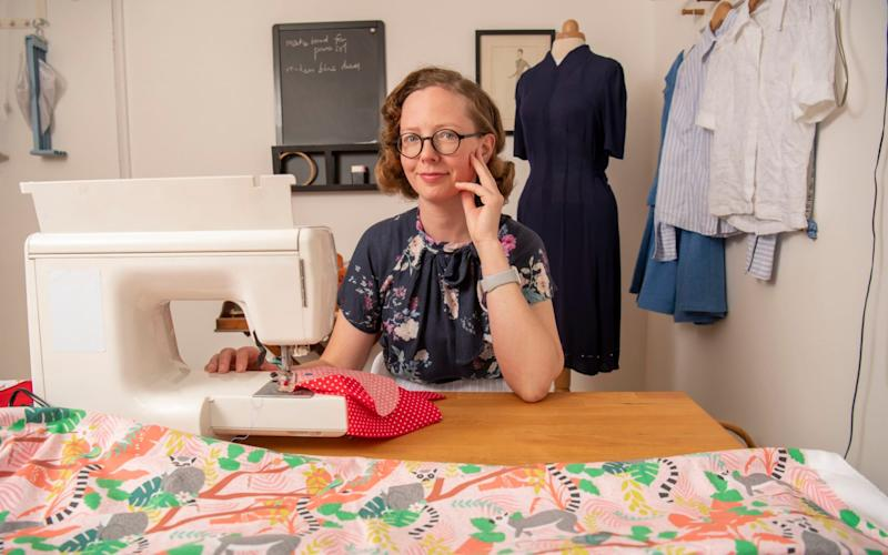 Clare Bradley in her sewing room - Paul Grover