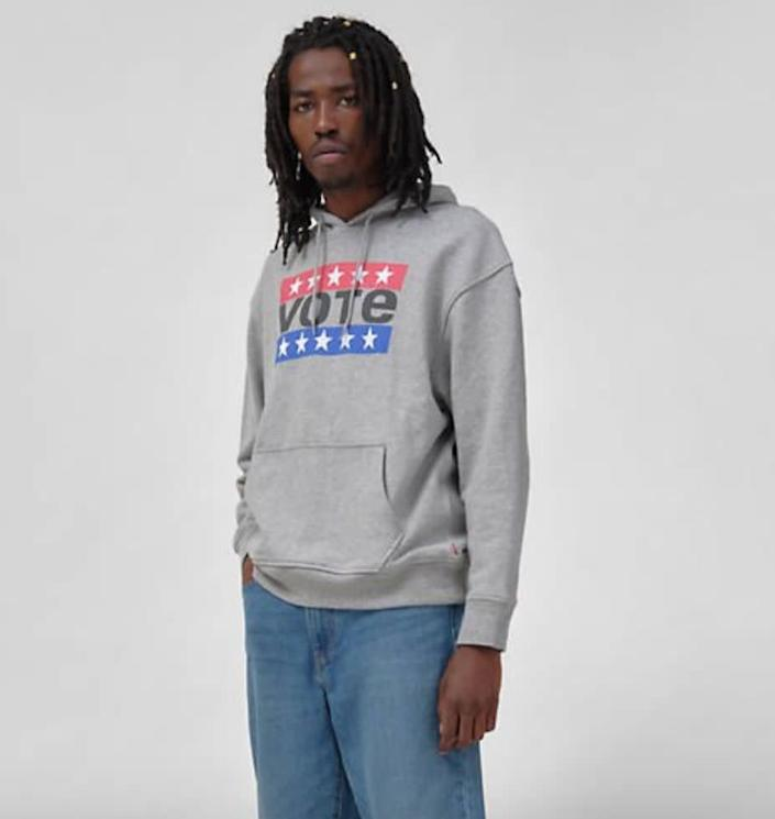 """Don't just talk about it, vote about it. That's the message behind this sweatshirt, a collaboration between <a href=""""https://fave.co/3am4cnn"""" rel=""""nofollow noopener"""" target=""""_blank"""" data-ylk=""""slk:Levi's and Rock the Vote"""" class=""""link rapid-noclick-resp"""">Levi's and Rock the Vote</a> meant to <a href=""""https://www.levi.com/US/en_US/itsyourvote"""" rel=""""nofollow noopener"""" target=""""_blank"""" data-ylk=""""slk:register"""" class=""""link rapid-noclick-resp""""><u>register</u></a> as many voters as possible for the <a href=""""https://www.huffpost.com/elections"""" data-ylk=""""slk:upcoming election"""" class=""""link rapid-noclick-resp"""">upcoming election</a>. This sweatshirt's made completely out of cotton so you can stay comfortable while doing your civic duty. <br><br><a href=""""https://fave.co/30Qy8oD"""" rel=""""nofollow noopener"""" target=""""_blank"""" data-ylk=""""slk:Find it for $75 at Levi's"""" class=""""link rapid-noclick-resp"""">Find it for $75 at Levi's</a>."""