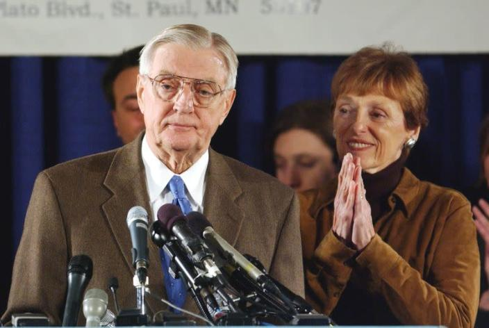 FILE PHOTO: Senate Candidate Walter Mondale concedes election to Norm Coleman in St Paul