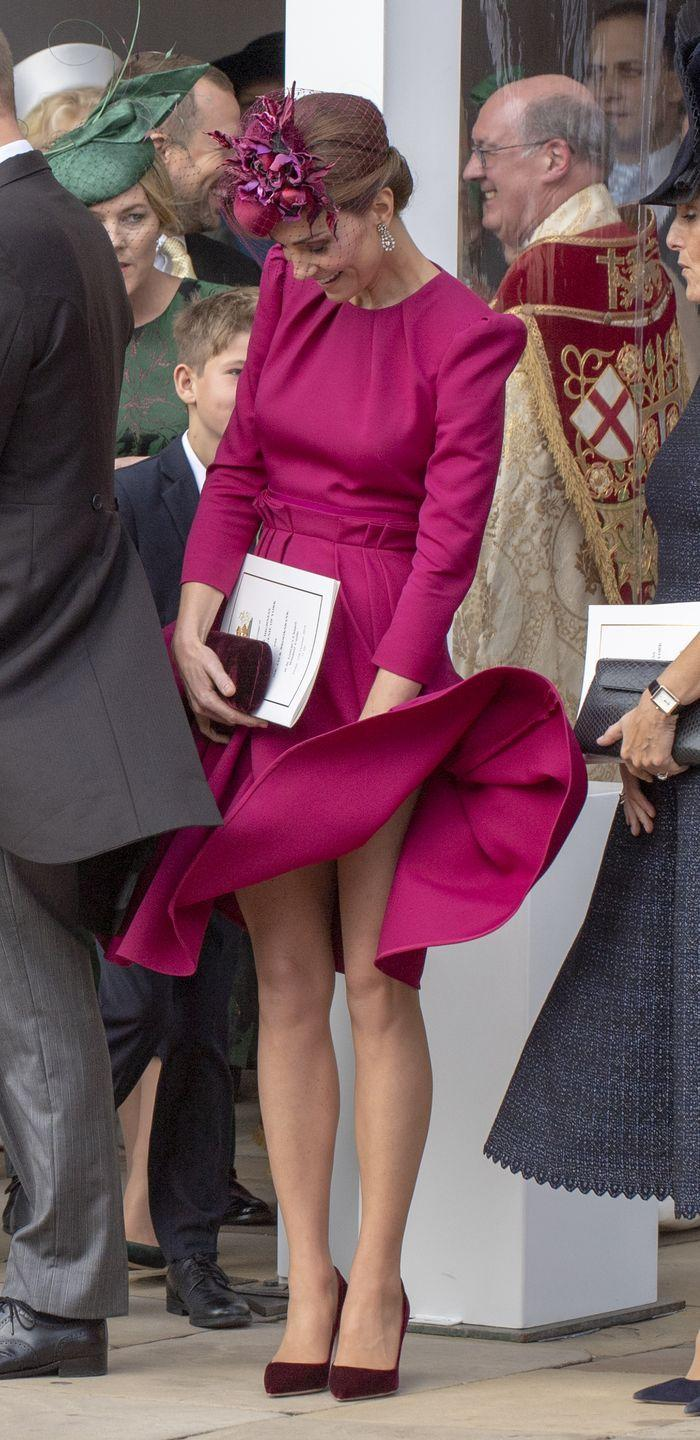 <p>Kate Middleton has a Marilyn Monroe moment at Princess Eugenie's wedding to Jack Brooksbank at St. George's Chapel. </p>