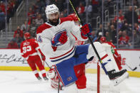 Montreal Canadiens center Nate Thompson celebrates his goal against the Detroit Red Wings during the first period of an NHL hockey game Tuesday, Feb. 18, 2020, in Detroit. (AP Photo/Paul Sancya)