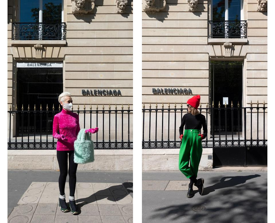 "<div class=""caption""> Wearing Balenciaga by Demna Gvasalia and Ramon Tailor in front of the Balenciaga store. </div>"