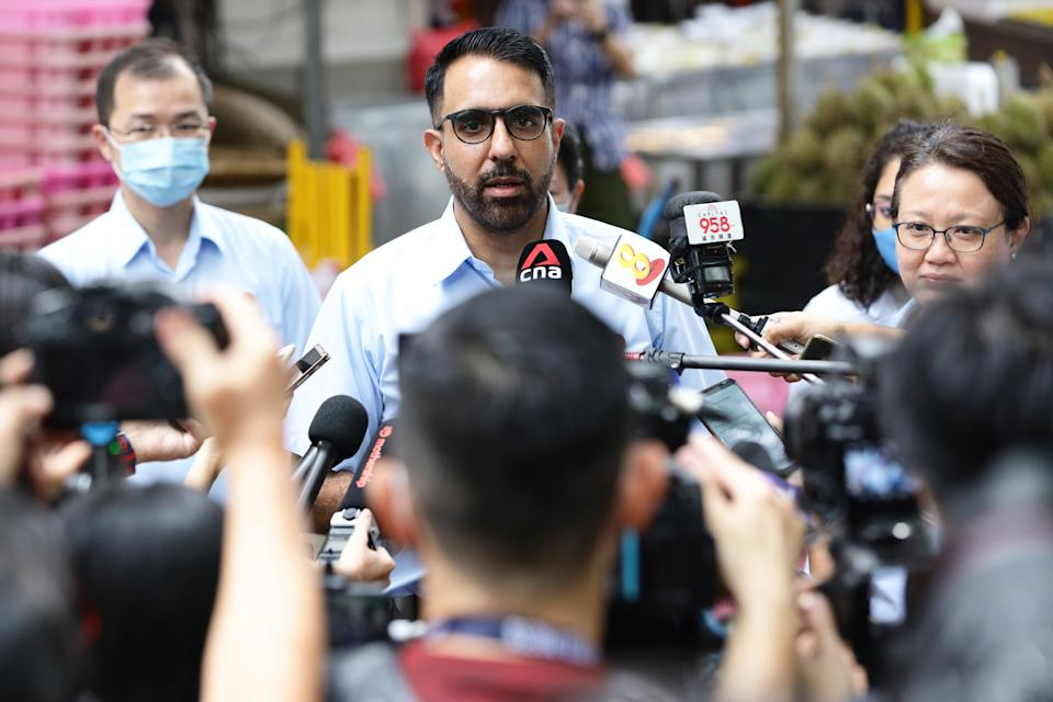 Workers' Party Secretary-General Pritam Singh speaks to reporters during a campaign walkabout ahead of the general election on 7 July 2020 in Singapore. (Photo by Suhaimi Abdullah/Getty Images)