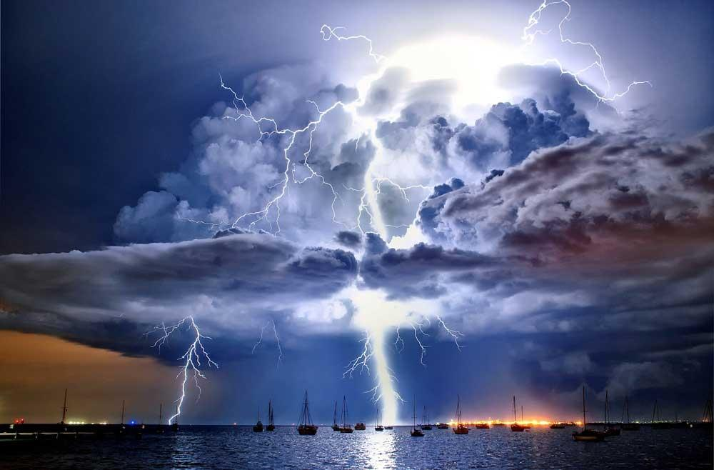 Lightning illuminates a cumulonimbus cloud over Corio Bay, Victoria, Australia, by James Collier (SWNS)