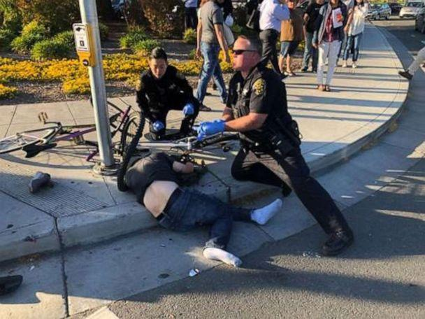 PHOTO: A victim in a crash that mowed down eight people in Sunnyvale, California, on April 23 is treated at the scene. (Don Draper)