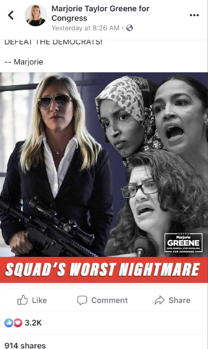 In this screengrab taken from an image posted on the Facebook feed of Marjorie Taylor Greene for Congress, Greene is seen posing with a rifle next to three Democratic House members. Facebook removed the photo illustration, saying Friday, Sept. 4, 2020, that it violated the social media platform's policy against inciting violence. (Facebook via AP)