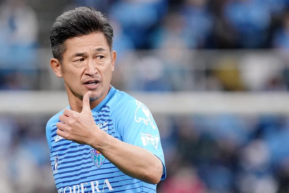 Kazuyoshi Miura pictured playing last November for J-League side Yokohama FC. (Koji Watanabe/Getty Images)