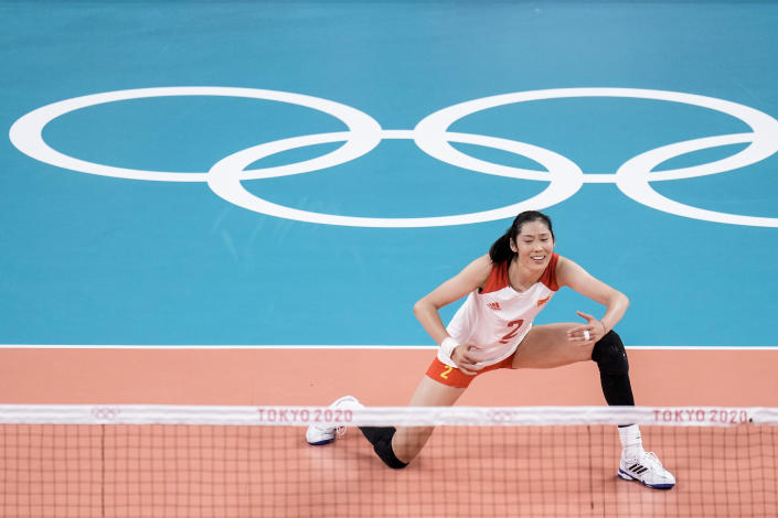 China's Zhu Ting reacts during a women's volleyball preliminary round pool B match between China and Russian Olympic Committee at the 2020 Summer Olympics, Thursday, July 29, 2021, in Tokyo, Japan. (AP Photo/Manu Fernandez)