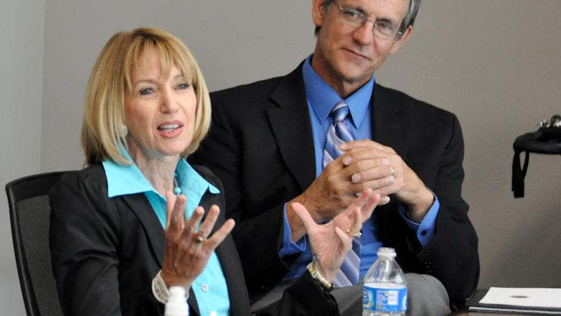 Then U.S. Geological Survey Director Marcia McNutt, left, talks about the agency's partnership with South Dakota State University as Dennis Helder, head of SDSU's electrical engineering department, listens, Wednesday, Sept. 1, 2010, at the school in Brookings, S.D. (Dirk Lammers/AP)
