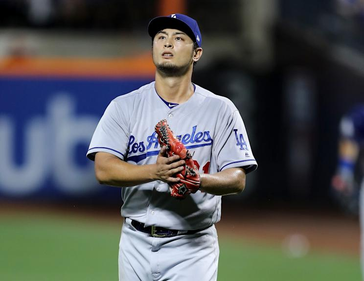 Yu Darvish pitched seven scoreless innings and struck out 10 in his dazzling debut for the Los Angeles Dodgers. (Getty Images)