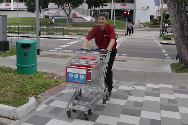 Five times a day, Pan goes out to retrieve abandoned trolleys in the vicinity of his outlet at Blk 212 Bedok North Street 1.