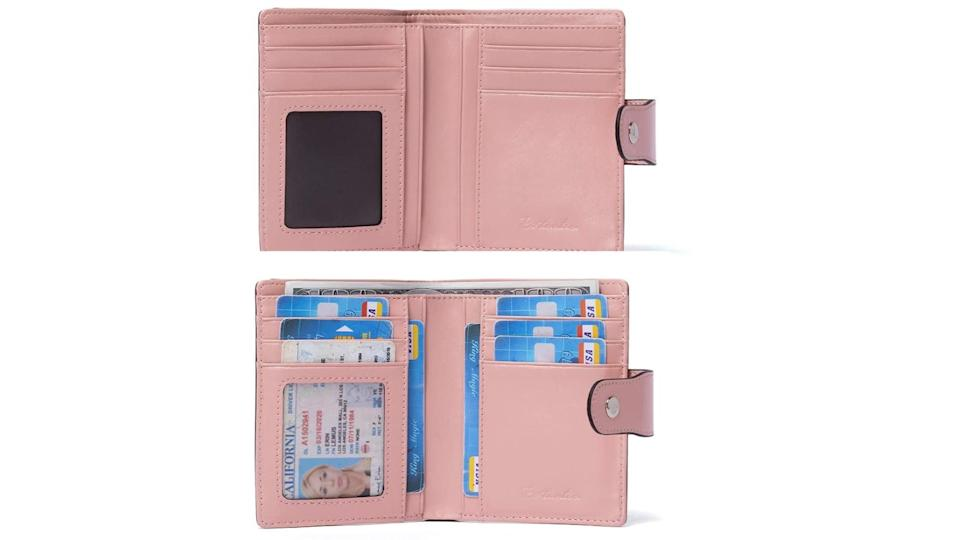 BOSTANTEN Women Leather Wallet RFID Blocking Small Bifold Zipper Pocket Wallet Card Case Purse with ID Window Pink. (Image via Amazon)
