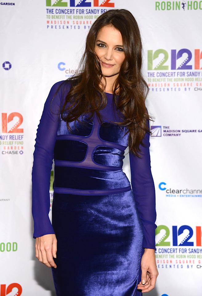 "NEW YORK, NY - DECEMBER 12:  Katie Holmes attends ""12-12-12"" a concert benefiting The Robin Hood Relief Fund to aid the victims of Hurricane Sandy presented by Clear Channel Media & Entertainment, The Madison Square Garden Company and The Weinstein Company at Madison Square Garden on December 12, 2012 in New York City.  (Photo by Dimitrios Kambouris/Getty Images)"