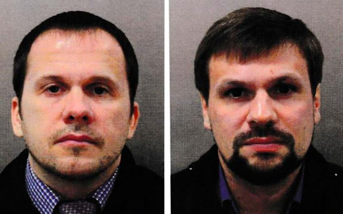 Two men using the aliases Alexander Petrov and Ruslan Boshirov, who have been linked to both the Salisbury poisoning and an explosion in the Czech Republic - Reuters