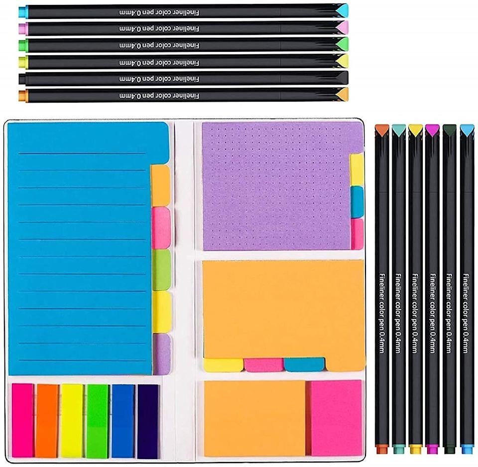 """Perfectfor anyone who needs to write something down in order to retain the information or remember their to-dos, as well as Type A folks who need to color code their work.<br /><br /><strong>Promising review:</strong>""""This is a great little set! The various sized sticky notes come in a neatly bound hardcover book that <strong>fits perfectly in the pocket of my daily planner</strong>. The pens are equally good, especially for the price. If you're like me and perhaps a little particular when it comes to organization and color coding, don't hesitate to purchase these. The set of 12 vibrantly colored pens fit nicely inside an empty extra sleeve pocket in my A5 planner. Because they're so compact, I did have a little trouble getting the caps off at first (weak hands), but with use, it's much easier."""" --<a href=""""https://amzn.to/3tp0p0J"""" target=""""_blank"""" rel=""""noopener noreferrer"""">Breezy McD</a><br /><br /><strong>Get it from Amazon for <a href=""""https://amzn.to/3vM3OYT"""" target=""""_blank"""" rel=""""noopener noreferrer"""">$11.99</a>.</strong>"""