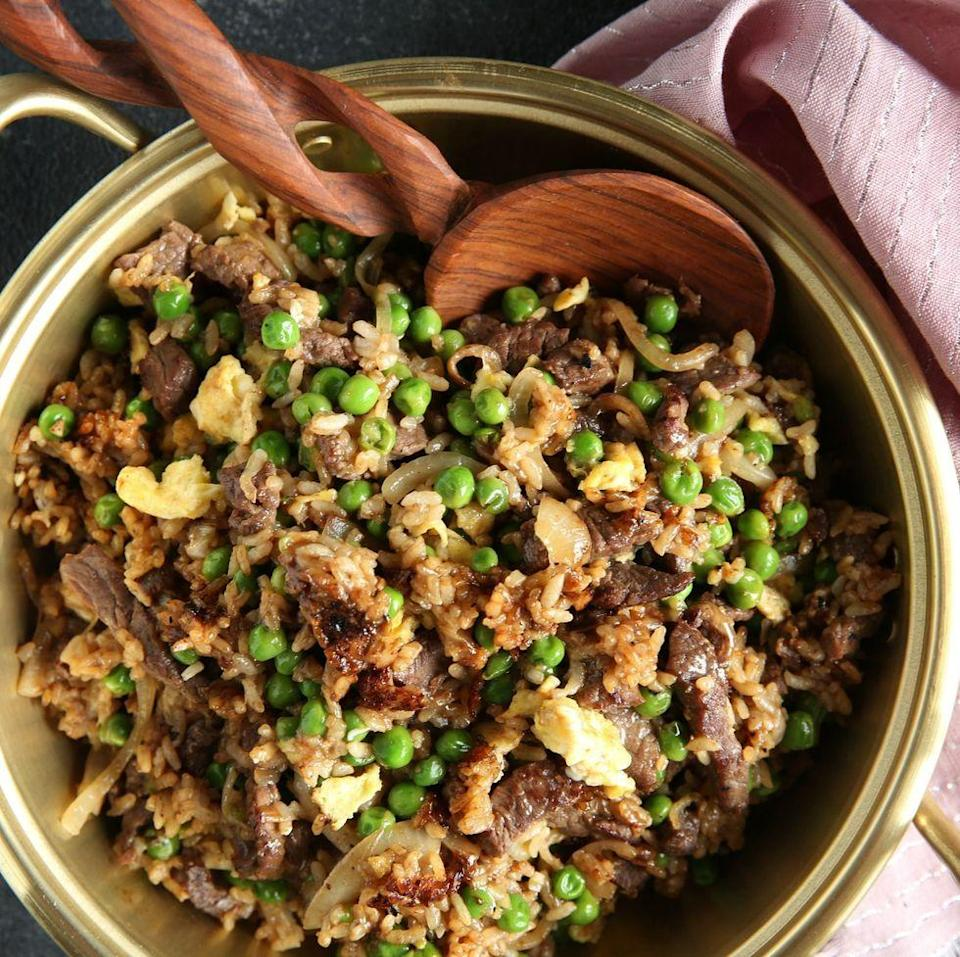 """<p>Transform leftover rice into better-than-a-takeaway stir fry.</p><p>Get the <a href=""""https://www.delish.com/uk/cooking/recipes/a28756557/beef-fried-rice-recipe/"""" rel=""""nofollow noopener"""" target=""""_blank"""" data-ylk=""""slk:Beef Fried Rice"""" class=""""link rapid-noclick-resp"""">Beef Fried Rice</a> recipe.</p>"""