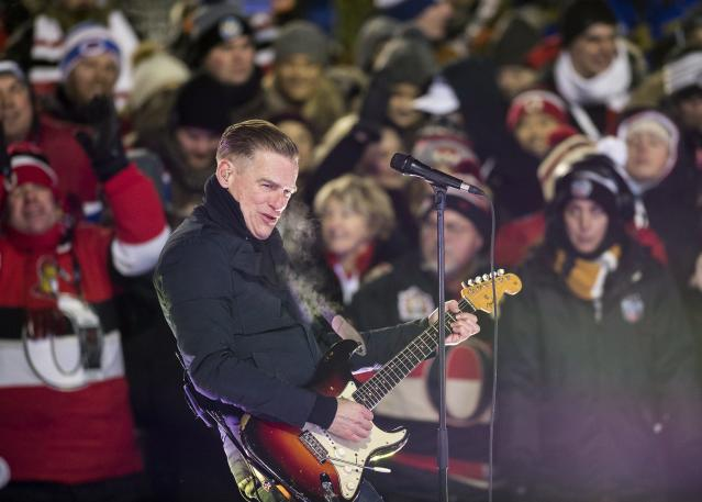 <p>Canadian Bryan Adams rocked the second intermission with a high-energy performance in front of a cold yet raucous crowd. </p>