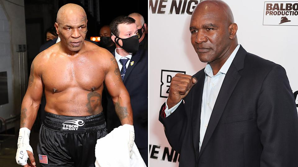 Pictured here, old adversaries Mike Tyson and Evander Holyfield.
