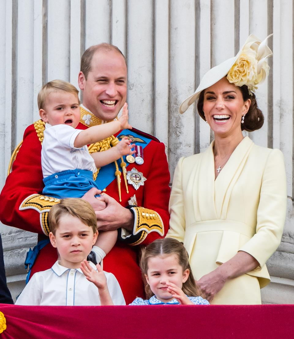 Prince Louis, Prince George, Prince William, Duke of Cambridge, Princess Charlotte  and Catherine, Duchess of Cambridge appear on the balcony during Trooping The Colour, the Queen's annual birthday parade, on June 08, 2019 in London, England.