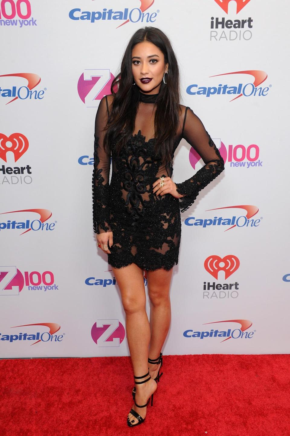 <p>It doesn't look like the sheer dress trend is going away anytime soon! Shay Mitchell offered her take on the style in this Oglia Loro Couture dress, strappy Giuseppe Zanotti sandals and a deep plum lippie.</p>