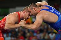 """<p>Olympic wrestlers have to cary a hanky somewhere in their uniform called a """"bloodrag."""" Yes, it is used to clean up any bleeding from competition. </p>"""