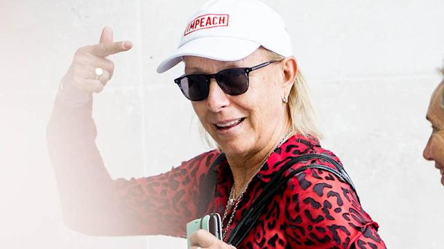 Martina Navratilova arrives at BBC Broadcasting House wearing the hat.(Photo by Ollie Millington/Getty Images)