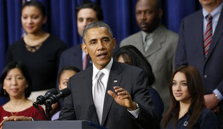 U.S. President Barack Obama speaks about the Affordable Care Act at the White House in Washington