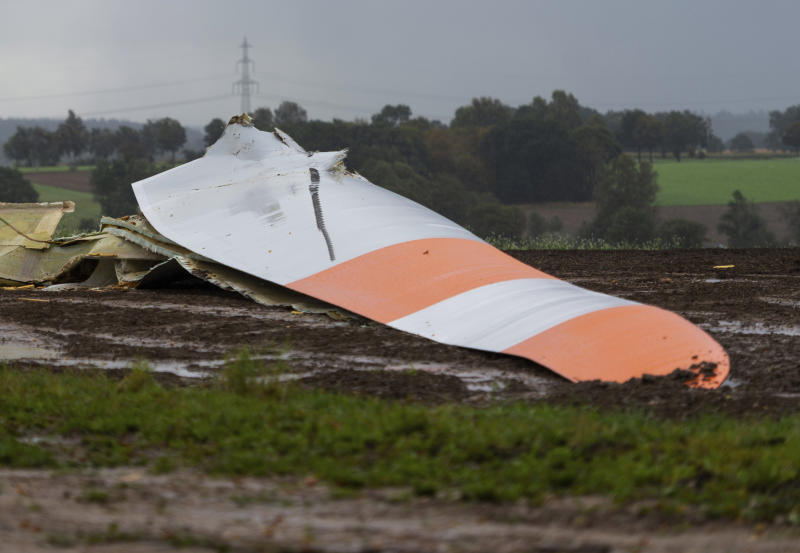 A piece of a wind energy station has crashed down due to heavy storm in Wriedel, Germany, Monday, Sept.30, 2019. (Philipp Schulze/dpa via AP)